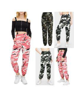 Hot Sale Women Camo Cargo High Waist Hip Hop Trousers Pants Military Army Combat Camouflage Long Pants Capris