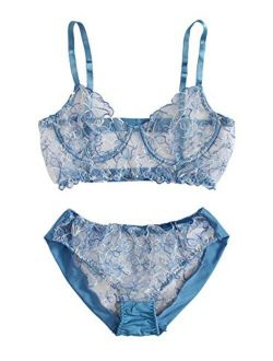 Women's Sexy Sheer Bra And Panty Set See Through Babydoll Lingerie Set