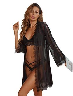 Women's Long Sleeve Mesh Lace Kimono Robe Belted Nightgown Lingerie