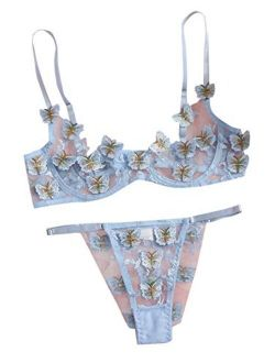 Women's Sexy Bra And Panty Set 2 Piece Sheer Floral Lace Lingerie Set Blue