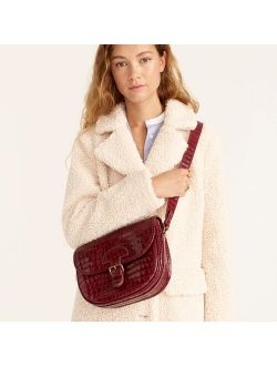 Classic large saddle bag in croc-embossed leather