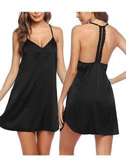 Sleepwear Lingerie Chemise Nightgown V-neck Women Sleeveless Camisole Slip Dress