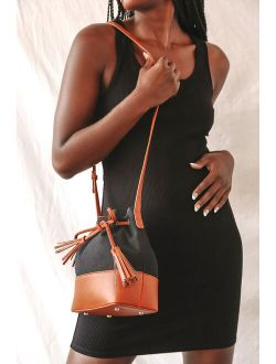 You Go Girl Black and Camel Drawstring Crossbody Bucket Bag