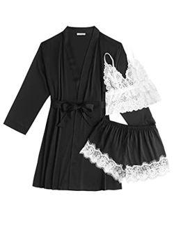 Women's 3 Pcs Sleepwear Satin Robe Floral Lace Trim Pajama Set Silk Sexy Lingerie Pajamas Bridesmaids With Robes