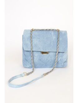 Perfect Look Light Blue Denim Quilted Crossbody Bag