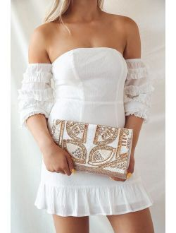 Bead the Best Ivory Beaded Clutch