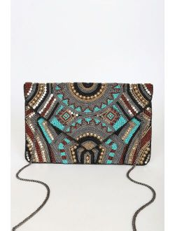 Beading The Best Teal Multi Beaded Sequin Clutch