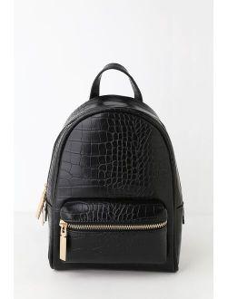 Getting Places Black Crocodile Embossed Mini Backpack