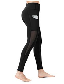 ALONG FIT Women's Mesh Yoga Leggings with Side Pockets Tummy Control Workout Running Capris High Waist Yoga Pants