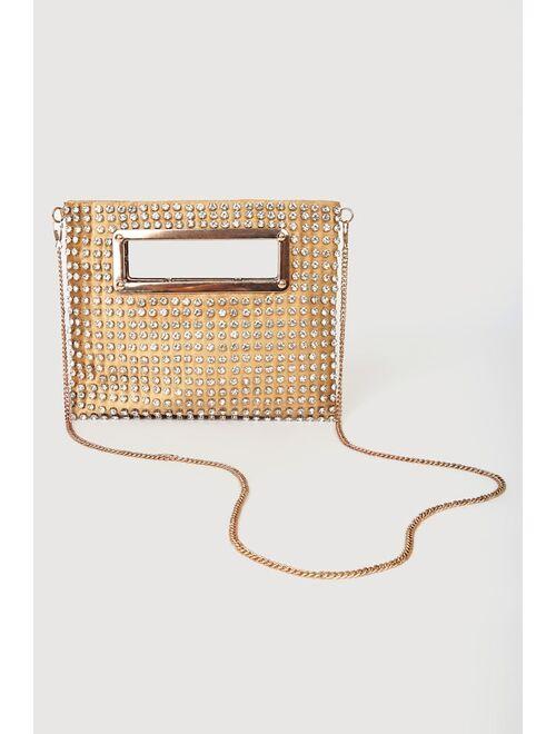 Lulus All Eyes On Me Gold Rhinestone Crossbody Bag