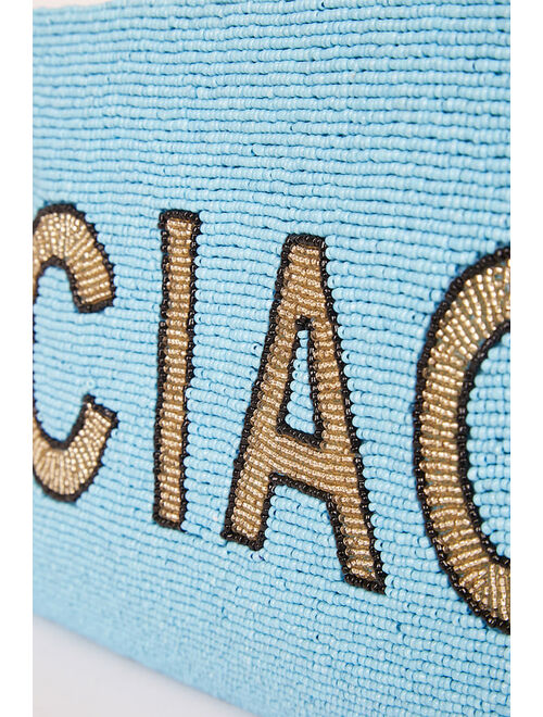Lulus Ciao For Now Blue Multi Beaded Clutch