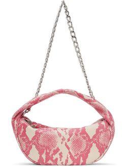 BY FAR Pink Snake Baby Cush Bag