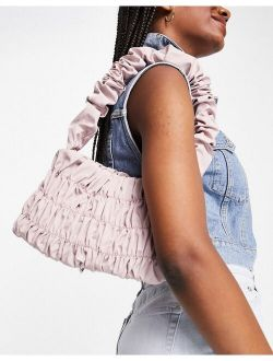 ruching shoulder bag in blush
