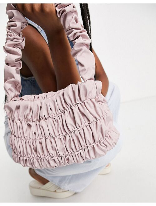 Asos Design ruching shoulder bag in blush