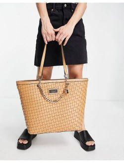 woven faux leather shopper bag in beige