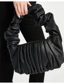 leather super ruched shoulder bag in black