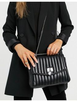 quilted crossbody bag with padlock detail in black