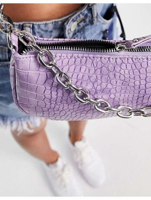 London Exclusive 90s shoulder bag in lilac croc