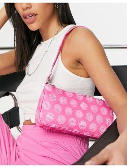 slim 90s shoulder bag in pink monogram print