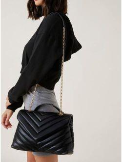 Basics Chevron Graphic Flap Shoulder Bag