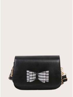 Girls Bow Decor Flap Saddle Bag