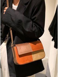 Colorblock Flap Square Bag