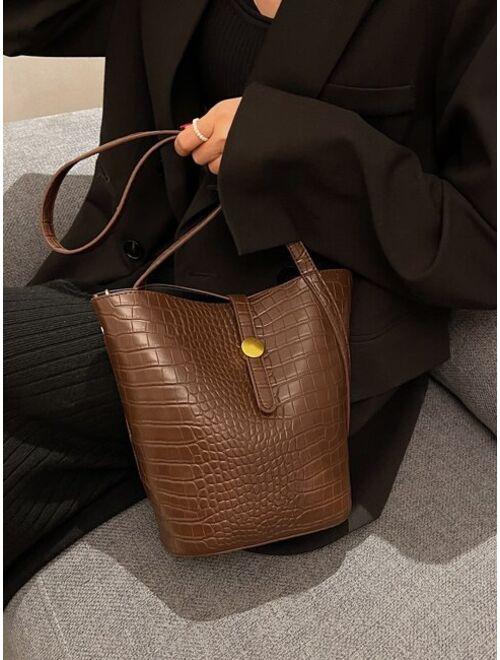 Shein Croc Embossed Large Capacity Bucket Bag