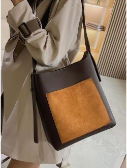 Two Tone Crossbody Bag With Inner Pouch