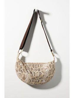 Snake-Printed Leather Shoulder Bag