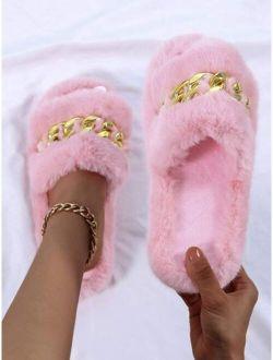 Fuzzy Chain Decor Slippers