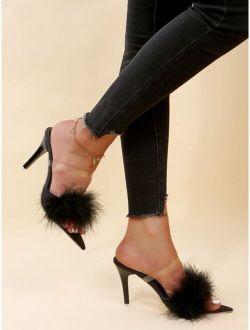 Minimalist Fluffy Stiletto Heeled Sandal Mules