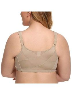 Exclare Women's Front Closure Full Coverage Wirefree Posture Back Everyday Bra