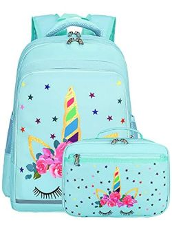 CAMTOP Backpack for Kids Girls School Backpack with Lunch Box Preschool Kindergarten BookBag Set (Mint Green-Unicorn)