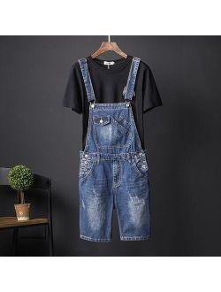 Summer Vintage Light Blue Denim Bib Overalls Male Knee Length Jeans Jumpsuits Men Distressed Ripped Suspender Shorts A42701