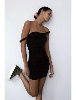 UO Claira Ruched Bodycon Mini Dress