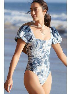 Agua Bendita Palma Puff-Sleeved One-Piece Swimsuit