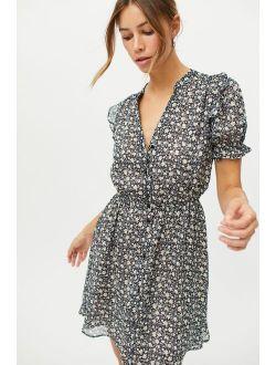 Dress Forum Floral Button-Front Mini Dress