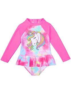 MHJY Girls One-Piece Swimsuit Unicorn Long Sleeve Rash Guard Bathing Suit Swimwear with Skirt