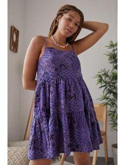 UO Purple Patchwork Lana Mini Dress