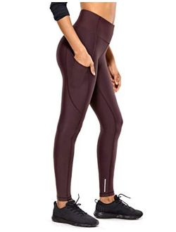 CRZ YOGA Women's Thermal Fleece Lined Workout Leggings 28 Inches - High Waisted Winter Yoga Pants with Pockets
