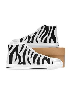 Zebra Striped Fashion High Top Shoes for Women Lined Canvas Style