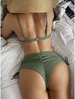 Plain Twist Push Up High Waisted Bikini Swimsuit