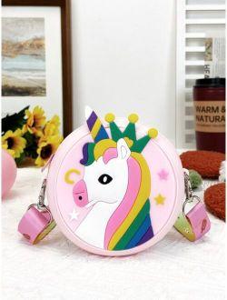 Girls Cartoon Unicorn Design Circle Bag