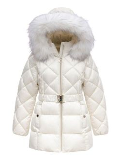 Big Girls Heavy Weight Belted Puffer Jacket with Diamond Quilting