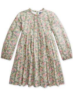 Big Girls Floral Tiered Crinkle Dress