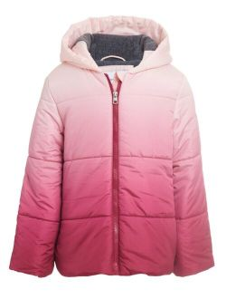 Big Girls Quilted Ombré Hooded Jacket