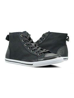 Burnetie Men's Black Solid Plaid High Top Vintage Sneaker