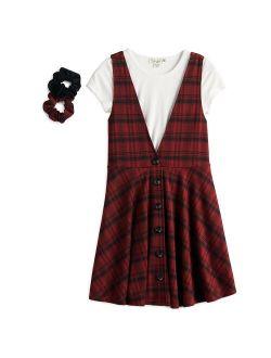 Girls 4-16 Knit Works Button Front Jumper Dress, Short Sleeve Top & Scrunchies Set in Regular & Plus Sizes