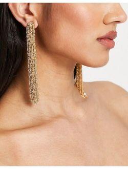 earrings with tassel chain in gold tone
