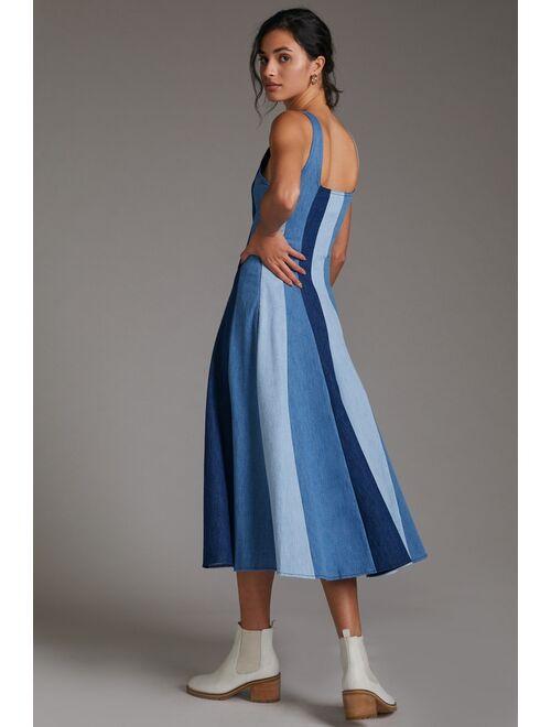 Farm Rio Colorblocked Denim Maxi Dress